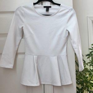 Forever21 White Peplum Shirt